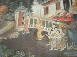 "This part of the great wall mural shows a bhikkhuni monastery or ""upassaya"" (lit ""refuge"" or ""sanctuary"") with bhikkhunis inside and a bhikkhuni welcoming the queen who has come with her ladies in waiting bearing gifts. This shows the days before European jackets and shirts became popular in tropical Asian countries! At that time male and female royalty would often wear vestiments of bands of jewels on their chests, while other folks might wear strips of cloth around their chests and one shoulder. The Thai people used short hair for both men and women then, like the ancient Kambojans. According to the decorations on the gateway, it looks like this monastery is depicted as one with royal patronage."