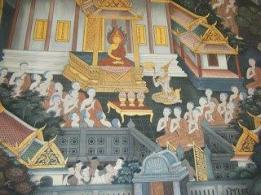 Another photo from the Foremost Women Disciples of the Buddha mural in the Hall of the Reclining Buddha at Wat Pho in Bangkok. This one shows the Bhikkhu and Bhikkhuni Sangha gathered to share blessings together with the queen making a ceremonial offering. In the Dakkhinavibhanga Sutta, the Buddha says that offerings to the Ubhato Sangha -the Dual Sangha- are of the greatest merit, even greater than to the Buddha himself alone.